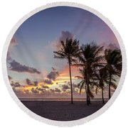Out Of The Sky Came The Lights Round Beach Towel