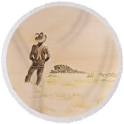 Round Beach Towel featuring the painting Out There by Michele Myers