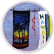 Out To Dry Round Beach Towel