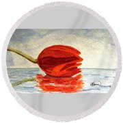 Round Beach Towel featuring the painting Out To Sea by Angela Davies