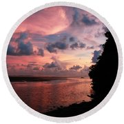 Out With A Roar Sunset Over Water Tarpon Springs Florida Round Beach Towel