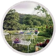 Outdoor Furniture By Lloyd On Grassy Hillside Round Beach Towel