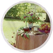 Outdoor Lunch In The Shade Of A Tree Round Beach Towel