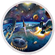 Outer Space Round Beach Towel