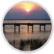 Round Beach Towel featuring the photograph Outerbanks Nc Sunset by Sandi OReilly