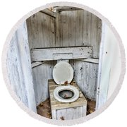 Outhouse A Look Inside Round Beach Towel
