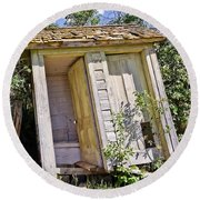 Outhouse For Two Round Beach Towel by Sue Smith