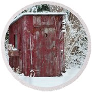 Outhouse Garden Shed In Winter, Marion Round Beach Towel