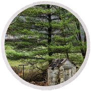 Outhouse In The Backyard Round Beach Towel
