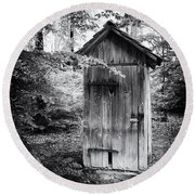 Outhouse In The Forest Black And White Round Beach Towel
