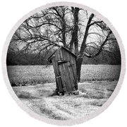 Outhouse In The Snow Round Beach Towel