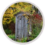 Outhouse Surrounded By Autumn Leaves Round Beach Towel