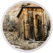Outhouse With Electricity Round Beach Towel by Sue Smith