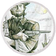 Outlaw Josey Wales Round Beach Towel