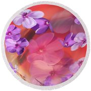 Round Beach Towel featuring the painting Outside Inspirations by Janie Johnson