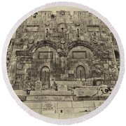 Outside The Eastern Gate Old City Jerusalem Round Beach Towel