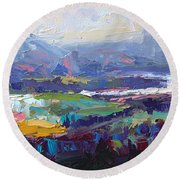 Overlook Abstract Landscape Round Beach Towel