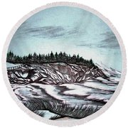 Round Beach Towel featuring the drawing Oven's Park Nova Scotia by Janice Rae Pariza