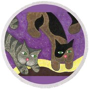 Over Cover Cats Round Beach Towel