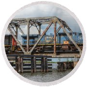 Over Pass Manchac Round Beach Towel by Charlotte Schafer