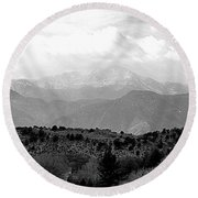 Over The Hills To Pikes Peak Round Beach Towel by Clarice  Lakota