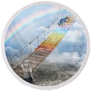 Over The Rainbow Bridge Round Beach Towel