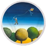 Over The Trees Round Beach Towel