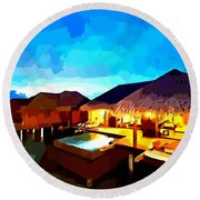 Over Water Bungalows Round Beach Towel