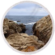 Overcast Day At Pebble Beach Round Beach Towel