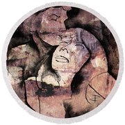 Round Beach Towel featuring the painting Overlaps I by Paul Davenport