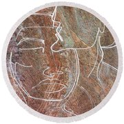 Round Beach Towel featuring the drawing Overlaps II by Paul Davenport