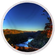 Round Beach Towel featuring the photograph Overlook In The Fall by Jonny D