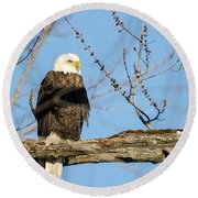 Overlooking Freedom Round Beach Towel
