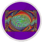 Abstract Art. Purple Orange  Round Beach Towel by Oksana Semenchenko