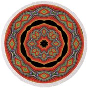 Orange Black  Beautiful Design. Art Round Beach Towel by Oksana Semenchenko