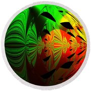 Art. Unigue Design.  Abstract Green Red And Black Round Beach Towel