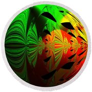 Art. Unigue Design.  Abstract Green Red And Black Round Beach Towel by Oksana Semenchenko
