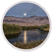 Owens River Moonrise Round Beach Towel
