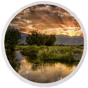 Owens River Sunset Round Beach Towel by Cat Connor