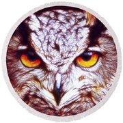 Round Beach Towel featuring the digital art Owl - Fractal by Lilia D