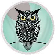 Owl 5 Round Beach Towel by Mark Ashkenazi