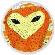 owl Round Beach Towel by Barbara Moignard