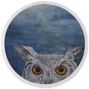 Owl By Moonlight Round Beach Towel