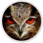 Owl - Fractal Artwork Round Beach Towel by Lilia D