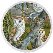 Owl Gathering Round Beach Towel