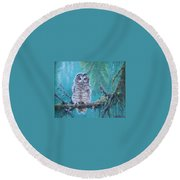 Owl In The Woods Round Beach Towel