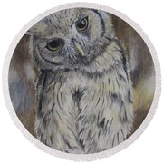 Owl Round Beach Towel by Laurianna Taylor