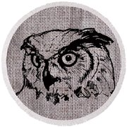 Owl On Burlap Round Beach Towel