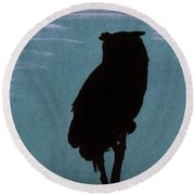 Round Beach Towel featuring the drawing Owl Silhouette by D Hackett