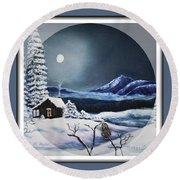 Round Beach Towel featuring the painting Owl Watch On A Cold Winter's Night In The Round  by Kimberlee Baxter